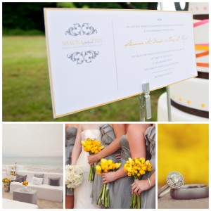 Yellow and Gray Wedding Inspiration board Dallas Ft Worth Wedding invitation
