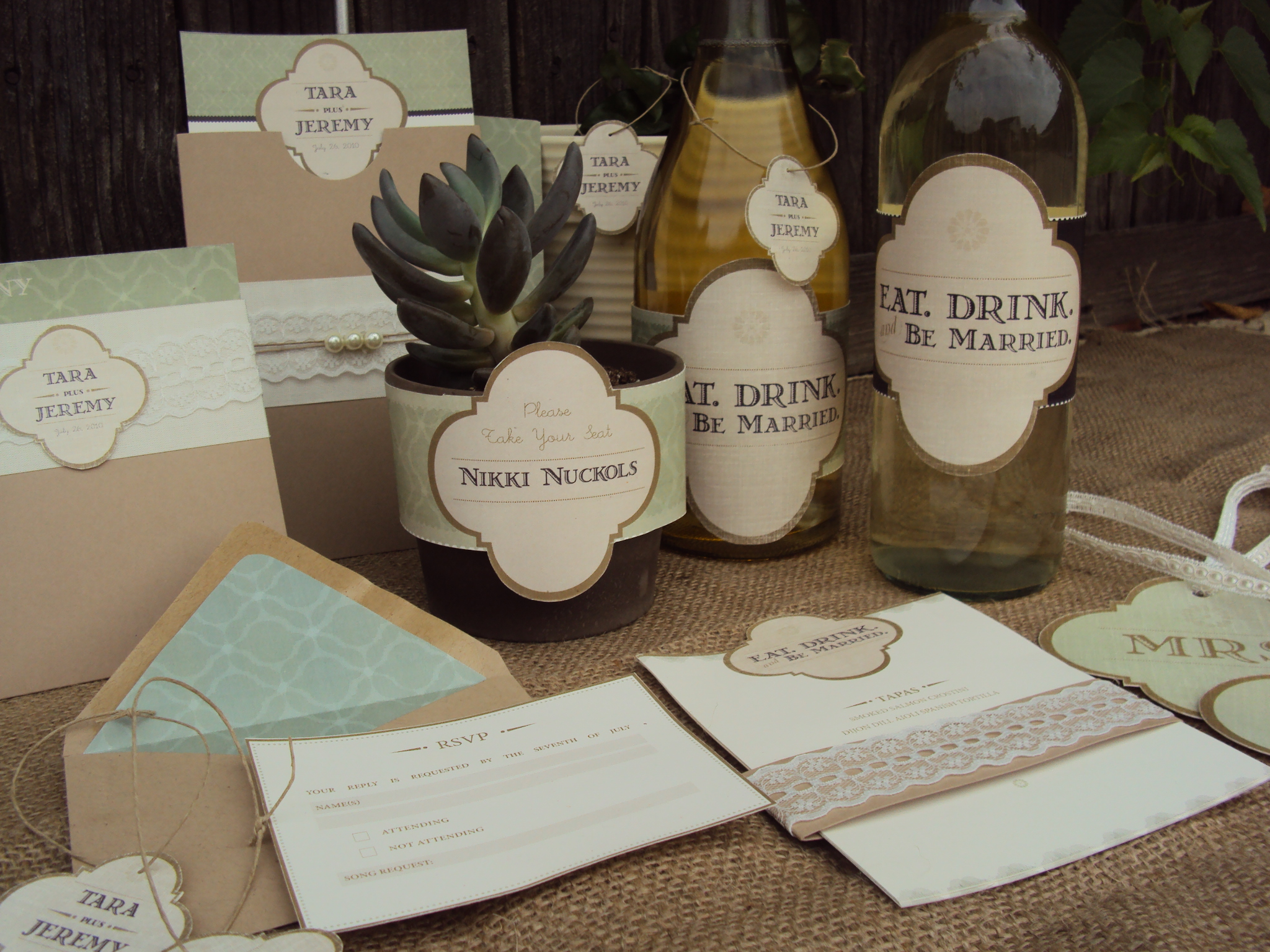 Desert Succulent Themed Wedding Paper Products Stationery Dallas