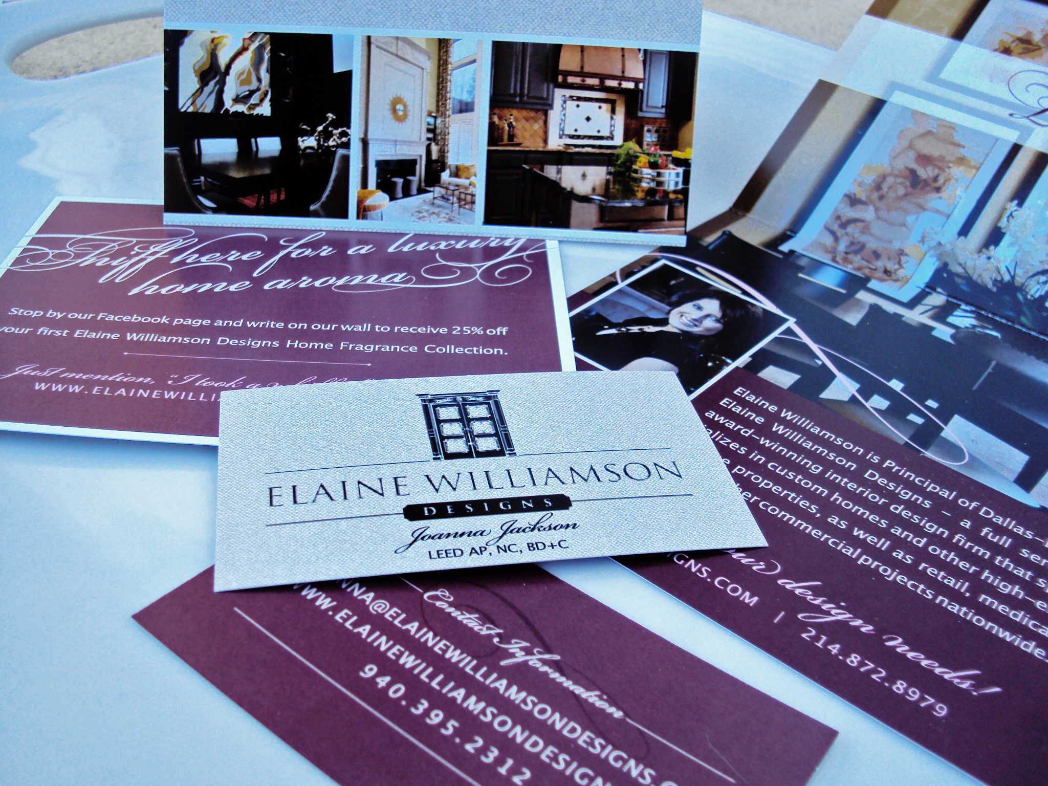 Dallas based elaine williamson designs 39 new collateral - Materials of interior design ...