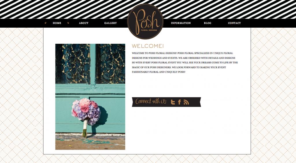 custom website design, florist website, black and gold branding, bold, trendy, modern, brand, website, wordpress site