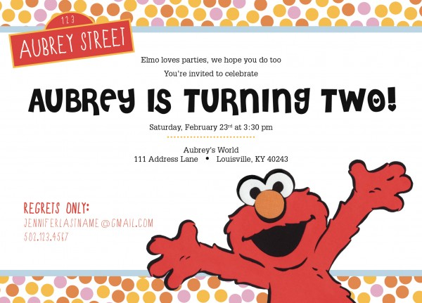 ELMO Birthday Party Invitation Doodle Dog Creative – 2 Year Old Birthday Invites