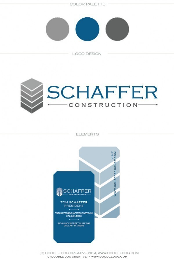 professional masculine logo design, graphic designer dallas, graphic designer austin, blue and gray brand identity, masculine logo, construction logo