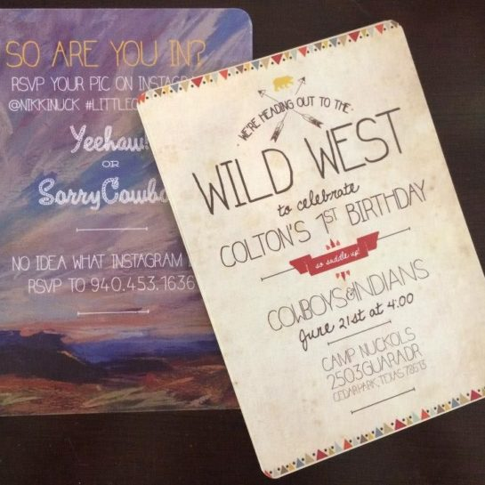 cowboys and indians birthday party invitation for kid