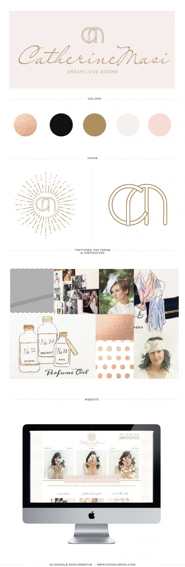 gold foil, brand identity, pretty brand, soft, romantic, high fashion brand identity, custom website design, wordpress website, ecommerce wordpress site, graphic designer