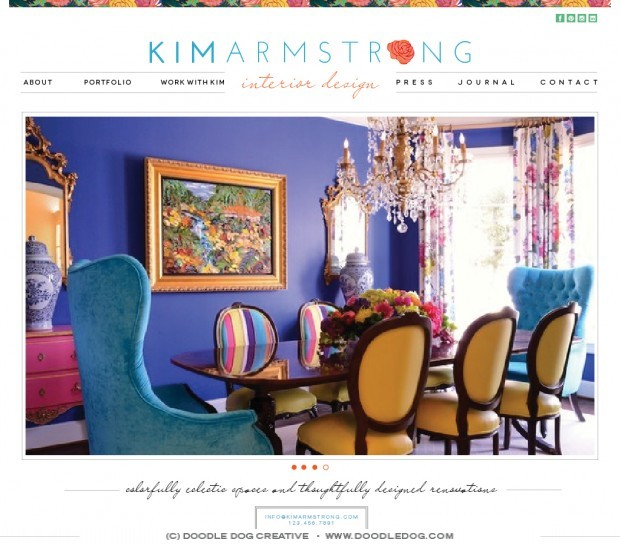 colorful website design for interior designer, dallas interior designer website designer