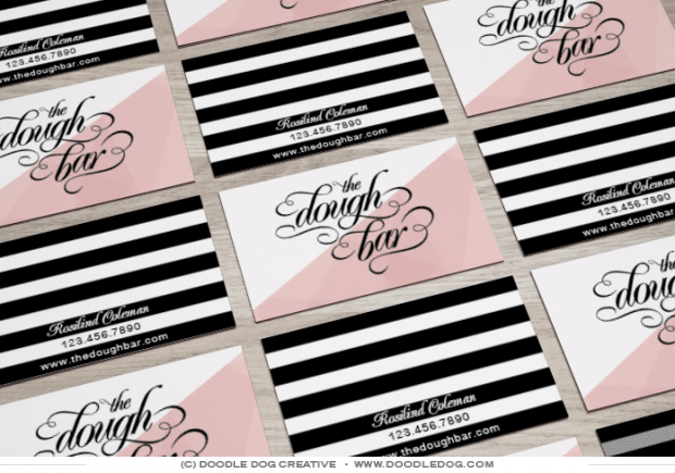 pink and black business cards, modern business card design by doodle dog