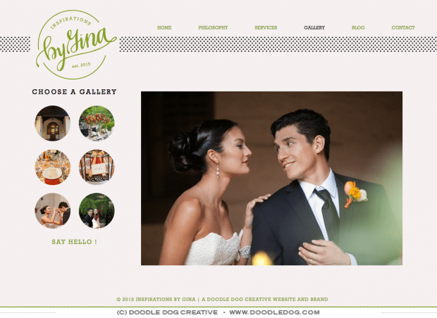 modern wedding planner brand, polka dot, green, black, kate spade inspired