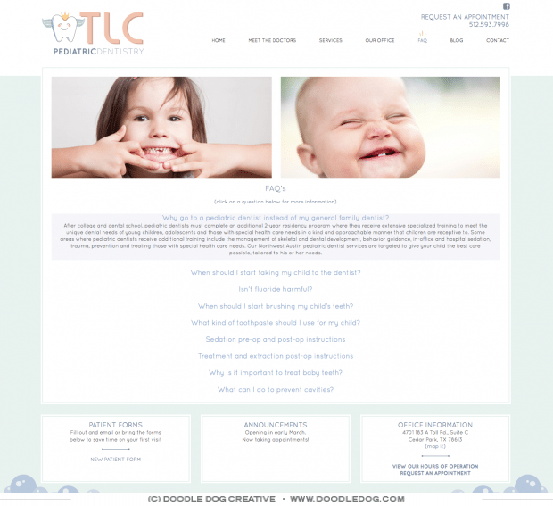 modern, clean, fresh, dentist website, pediatric dentist