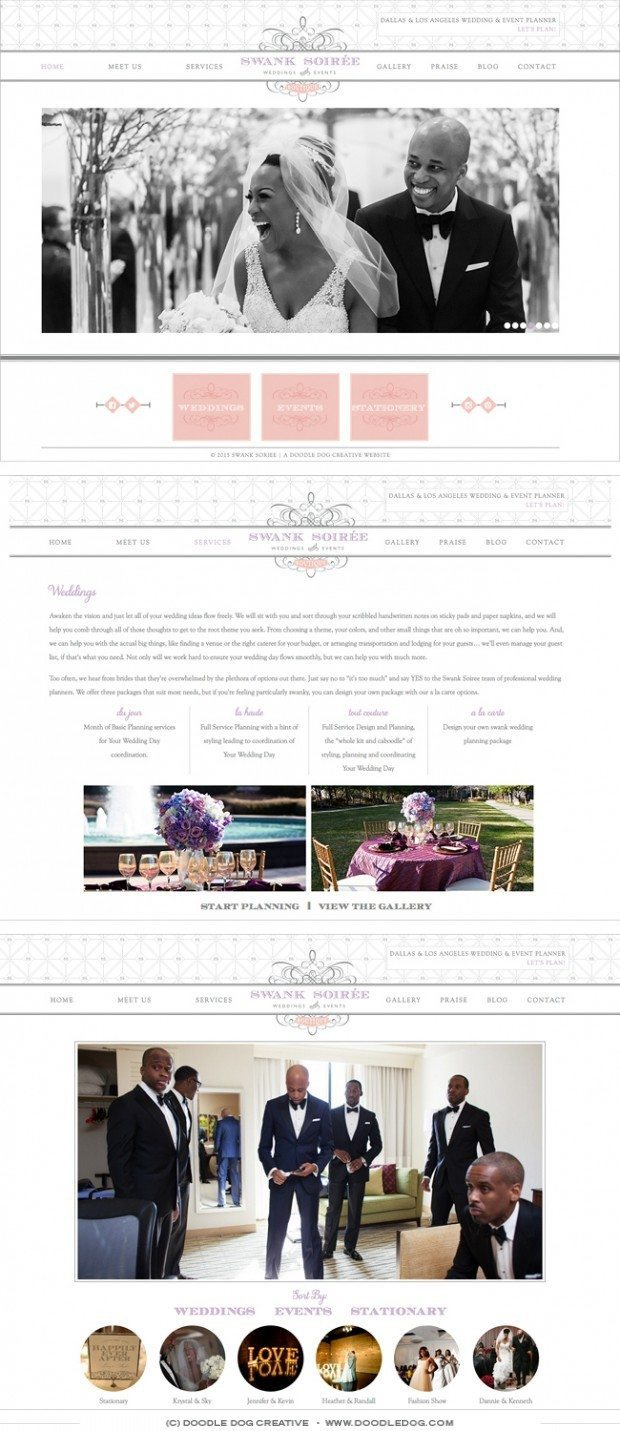 website design for wedding planner, grey website design, nuetral website design