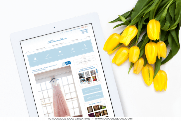 professional wedding blog design, wedding business website