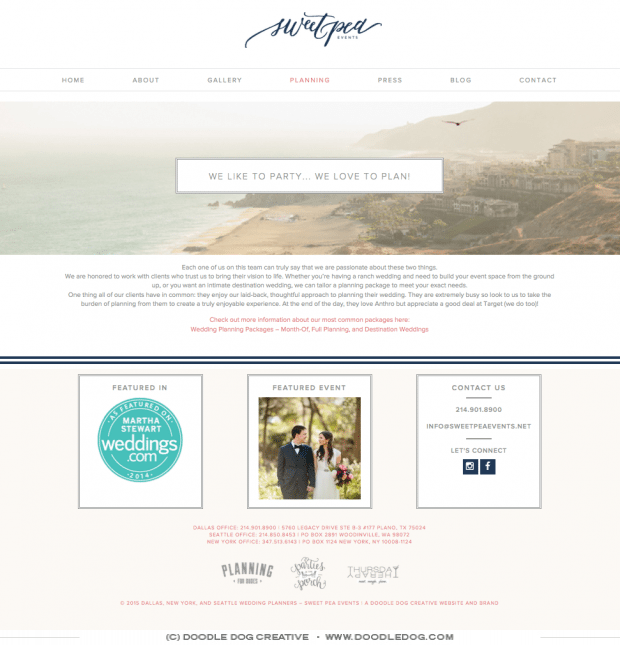 wedding professional wedbsite design