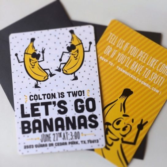 go bananas themed birthday party invite