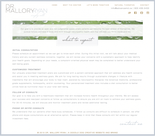 Dr  Mallory Ryan's zen brand and website design - Doodle Dog Creative