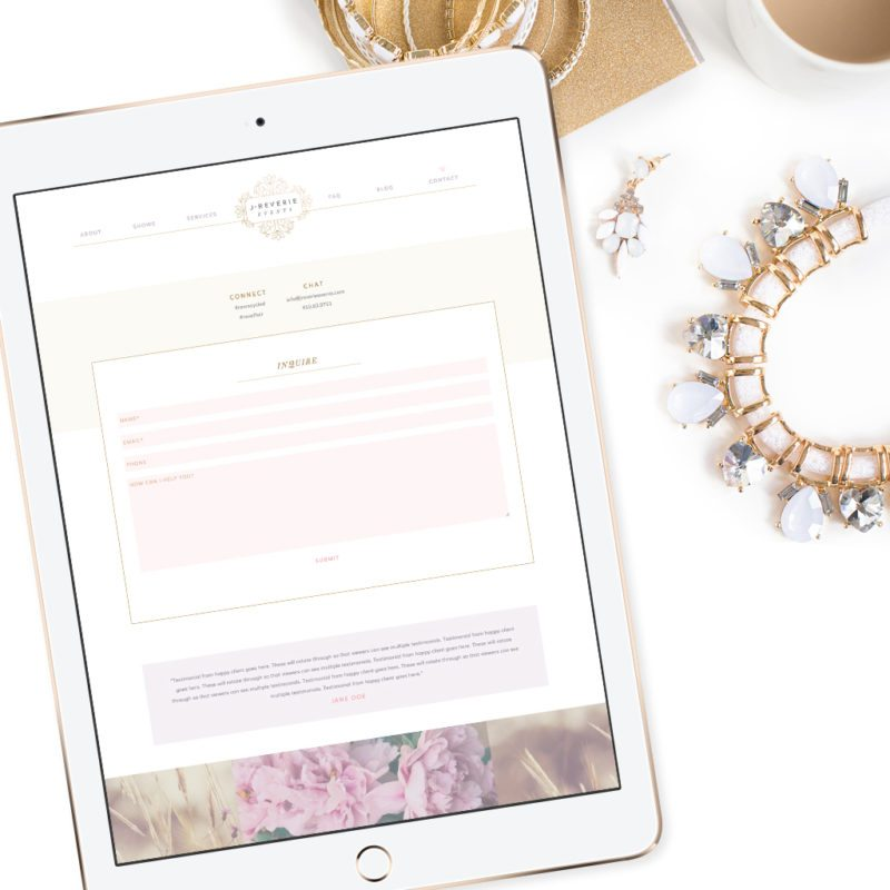 Wedding Industry Branding and Web Design | J. Reverie Events