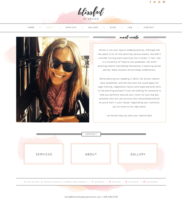 Feminine Website Design for Blissful By Design | Doodle Dog