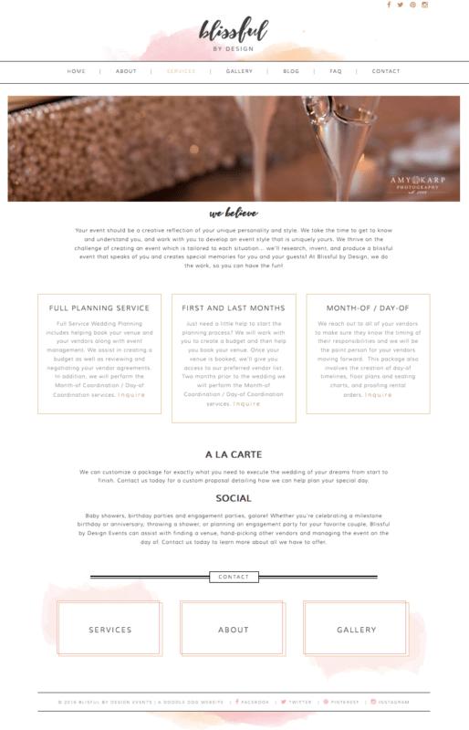 Feminine Website Design for Blissful By Design | Doodle Dog