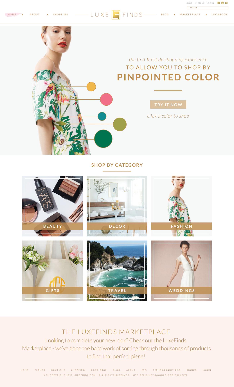 Custom Website Design: Luxury Product Curator, LuxeFinds   Doodle Dog