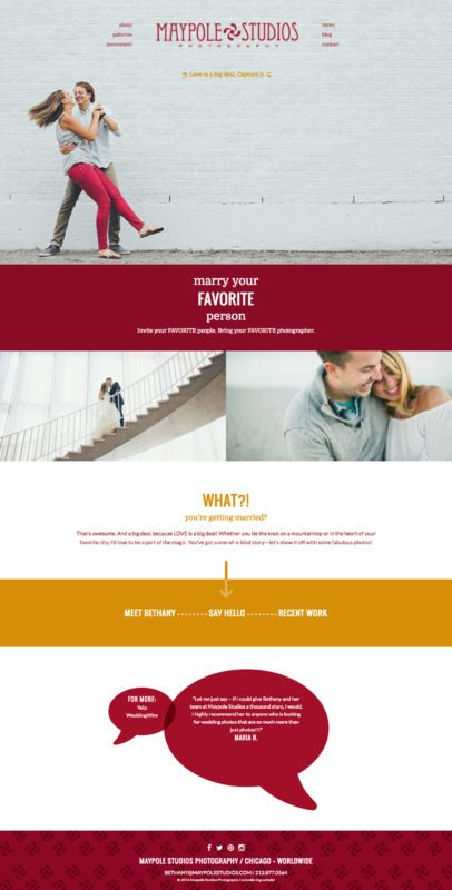 Wedding Photographer Website Design for Maypole Studios | Doodle Dog