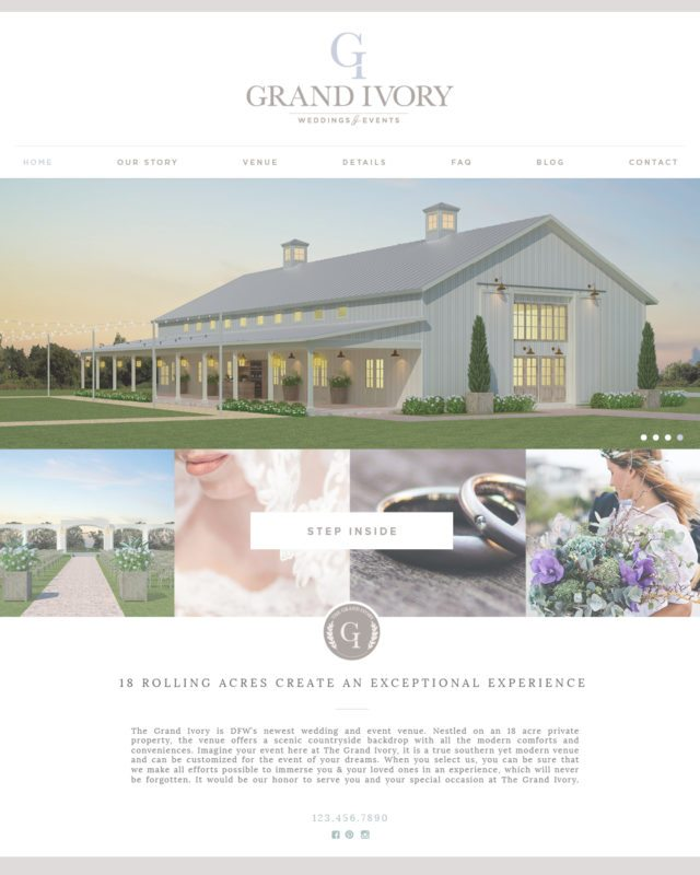DFW Website Design | The Grand Ivory Wedding Venue: by Doodle Dog