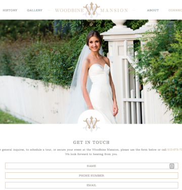 wedding venue custom website