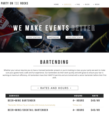 Custom Website Design Event Industry