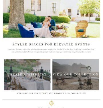 event rentals website design