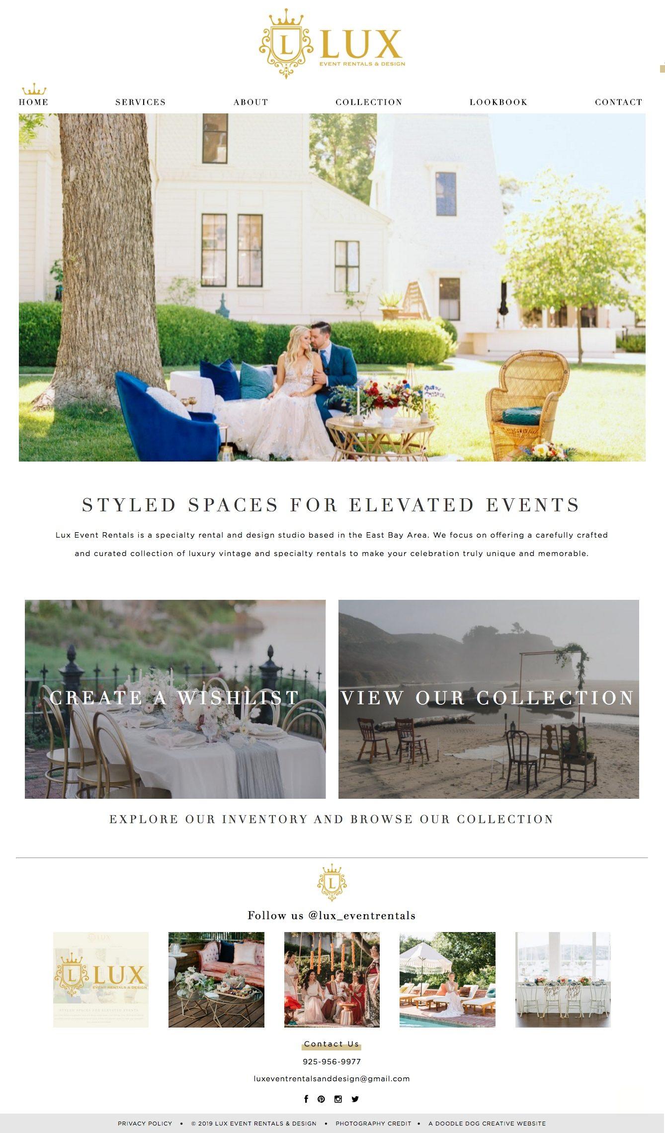 event rentals website design