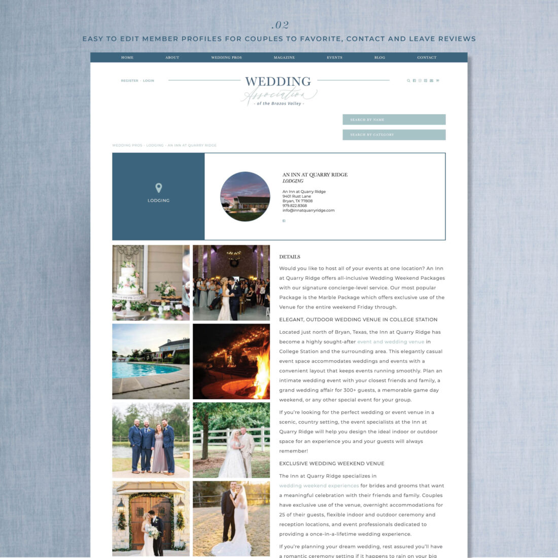 Wedding Organization Directory Website